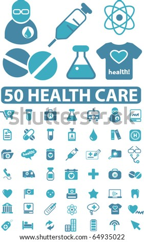 50 health care signs. vector