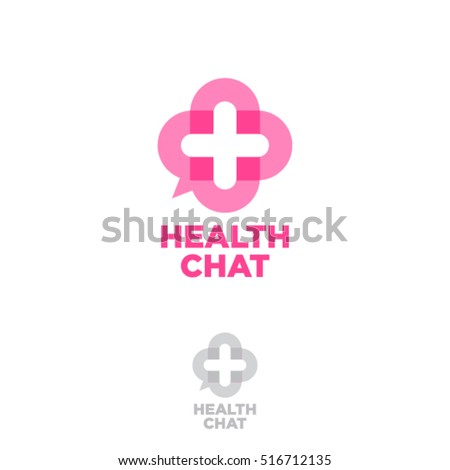 Health chat emblem. On line medical consultation icon. Chat button, as a medical cross.
