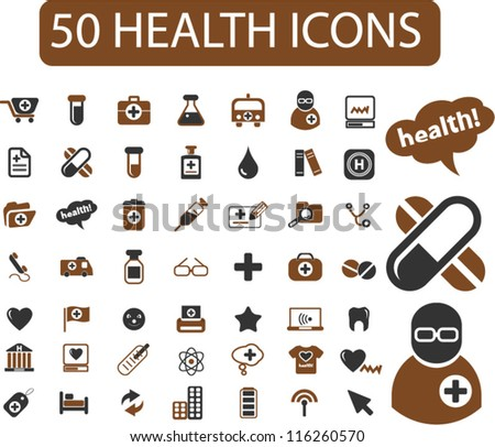50 health icons set, vector