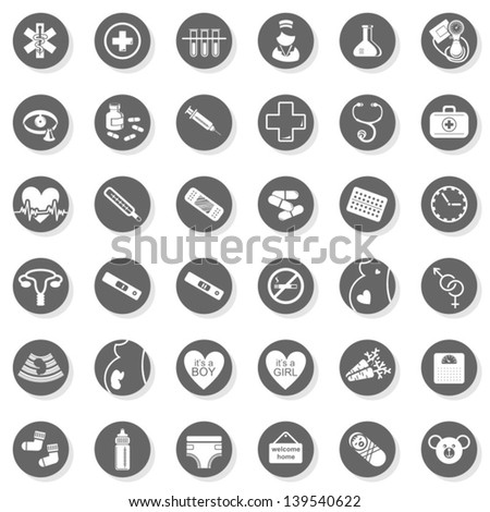 36 healthcare medical woman pregnancy baby monochrome isolated gray flat icon set with light shadow on white background