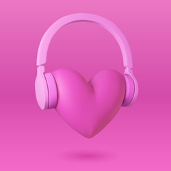 Heart and headphones. Illustration of love for music. Pink background. Vector EPS 10.