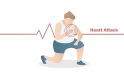 ็Heart attack from exercise,fat men running feel chest pain and was short of breath fall on the ground,Sports injury, excessive stress during training,Health care,Vector illustration.