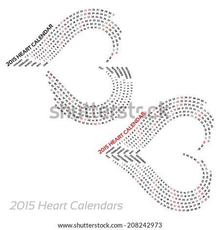 2015 heart calendars - on isolated background