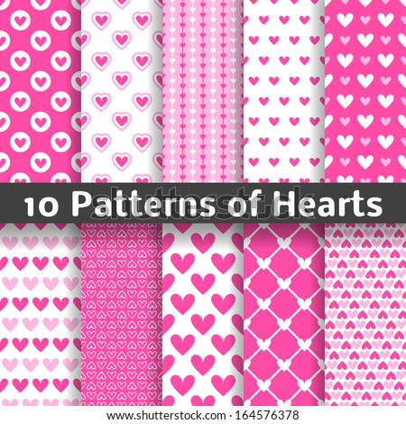 10 Heart shape vector seamless patterns (tiling). Pink color. Endless texture can be used for printing onto fabric and paper or scrap booking. Valentines day background for invitation.