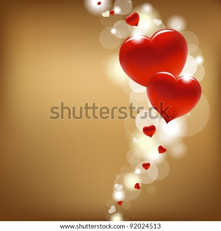 2 Hearts And Valentin`s Day Card With, Vector Illustration