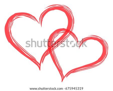 2 hearts shape vector. Sweet couple in love paint brush illustration.