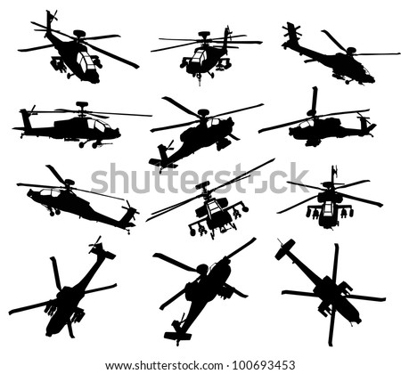 helicopter vector silhouettes