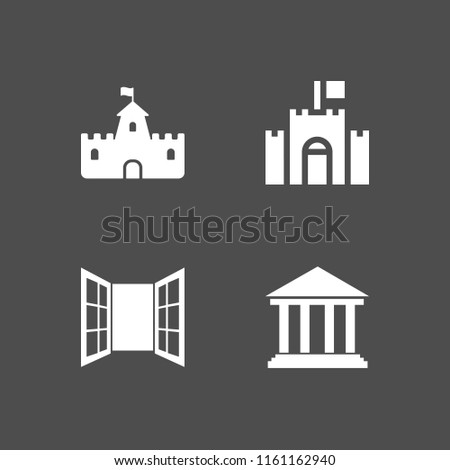 4 heritage icons in vector set. opened window door of glasses, castle, historic and fortress illustration for web and graphic design