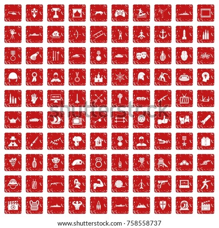 100 hero icons set in grunge style red color isolated on white background vector illustration