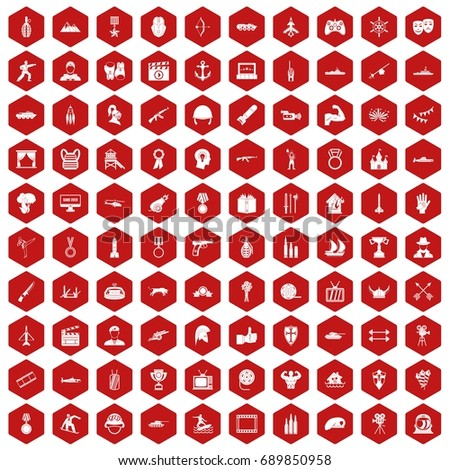 100 hero icons set in red hexagon isolated vector illustration