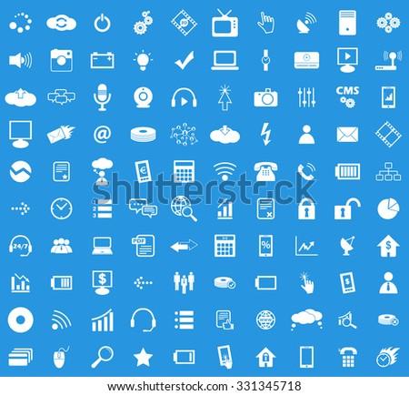 100 Hi-Tech icon set, simple white images on blue background