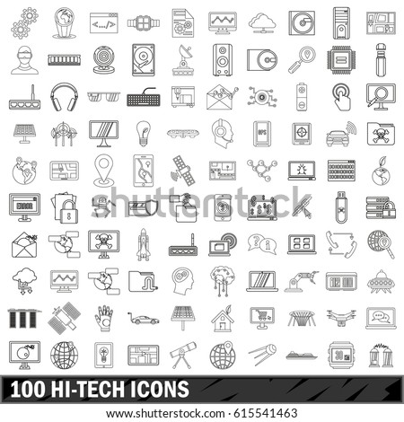 100 hi-tech icons set. Outline illustration of 100 hi-tech vector icons set isolated on white background
