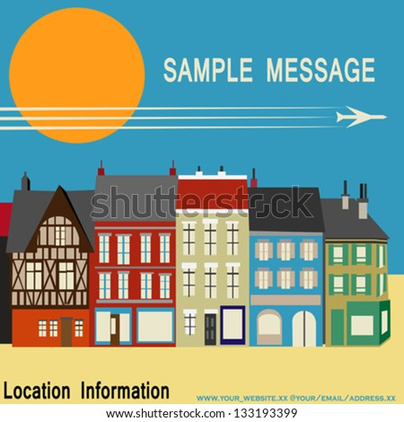 High Street Shops. simplistic Vector Background image with colourful traditional houses