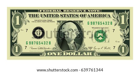 1 highly detailed dollar bank note Vector Illustration Created For Mobile, Web, Decor, Print Products, Application on white background