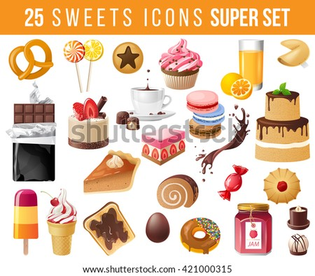 25 highly detailed sweets icons