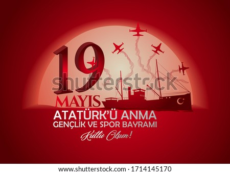 (Hight quality) 19 May Commemoration of Atatürk, Youth and Sports Day. (Airplane) (English: 19 May, Atatürk Remembrance, Youth and Sports Holiday)
