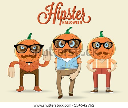 Hipster halloween characters. Vector illustration