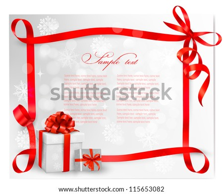 Holiday background with red gift bow with gift boxes. Vector illustration.