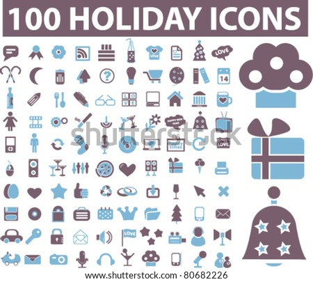 100 holidays icons, illustrations, vector