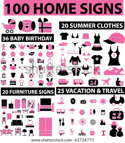 100 home signs. vector