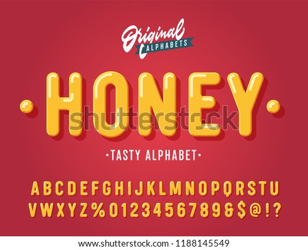 'Honey' Vintage Sans Serif  Rounded Alphabet. Retro Typography with Rich Colors and Juicy Tasty Look. Vector Illustration.