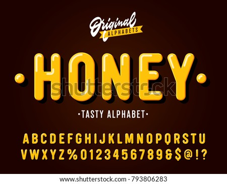 'Honey' Vintage Sans Serif  Rounded Alphabet. Retro Typography with Rich Colors and Juicy Tasty Look. Vector Illustration. - Shutterstock ID 793806283