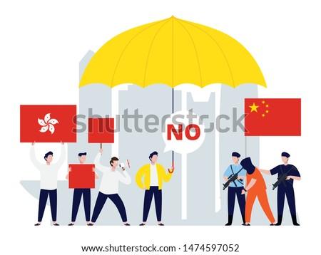 Hongkong protest in tiny people illustration. China mainland and Hongkong conflict image.
