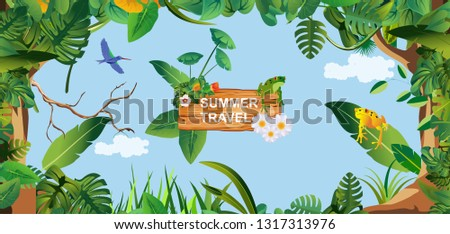 Horizontal banner Summer Time Holiday and travel illustration with frogs on wood background. Tropical floral frame with blue sky. Design template