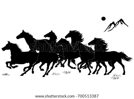8 horses black and white vector