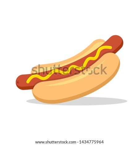 Hot dog. Vector isolated flat illustration fast food for poster, menus, brochure, web and icon fast food