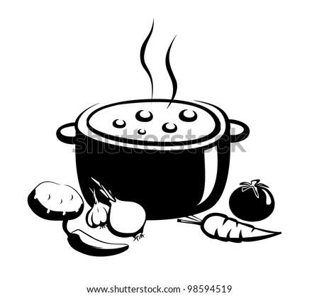 hot soup vector illustration, food and ingredients