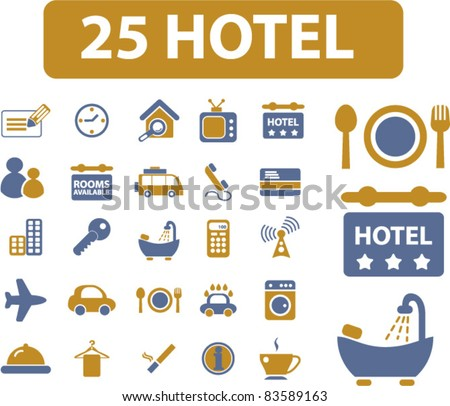25 hotel icons, signs, vector illustration set