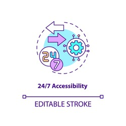 24 hour accessibility concept icon. SaaS advantage idea thin line illustration. Support resolving issues in real-time. Anytime access. Vector isolated outline RGB color drawing. Editable stroke