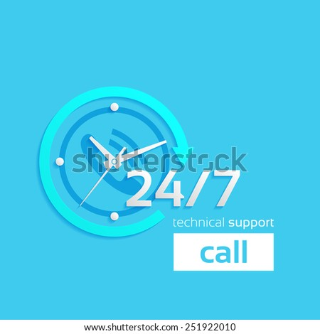 24 hour assistance, Clock Icon Isolated on Blue Background, technical support icon