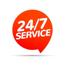 24 hour 7 day service available support. Service clock logo tag icon
