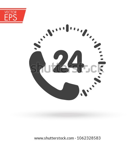 24 hour support call center icon. Steady available services. Twenty four hour everyday. Can use for service advertising. 24 7 icon. open 24 hours a day and 7 days a week icons 24 on 7