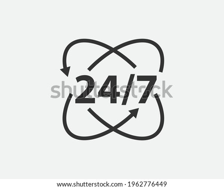 24 Hours a day service icon symbol vector. Signs and symbol for websites, web design, mobile app Photo stock ©