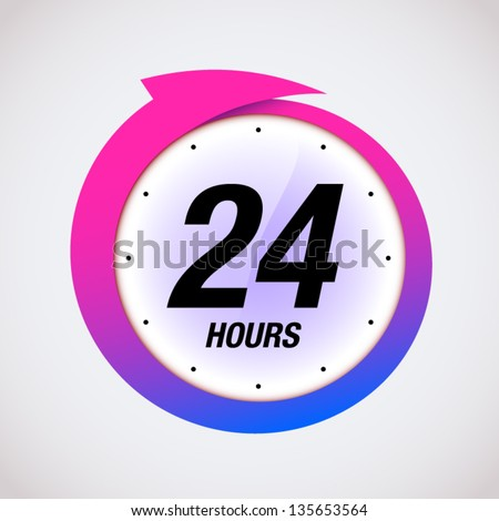 24 hours black and pink badge icon vector illustration