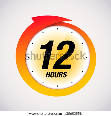 12 hours black and red badge icon vector illustration