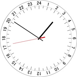 24 hours clock dial. Full day clock. Vector Illustration