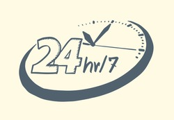 24 hours 7 day clock drawn style. Vector illustration.
