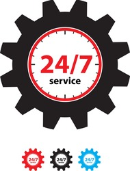 24 hours & 7 days service concept icon. Vector stock illustration.