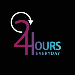 24 hours everyday icon. typography. gradient color.Full time vector design.