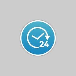 24 hours icon. 24 hours work icon.Full time vector design.