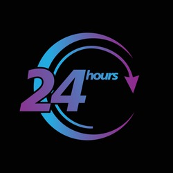 24 hours icon. 24 hours work icon. 24 hours/7 day.Full time vector design.