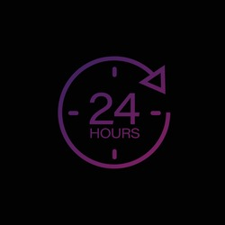 24 hours icon. 24 hours work icon. 24 hours/7 day.Full time vector design.gradient color