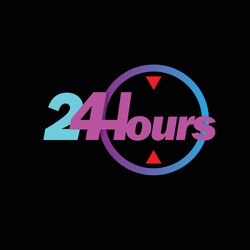 24 hours icon. 24 hours work icon. 24 hours.Full time vector design.