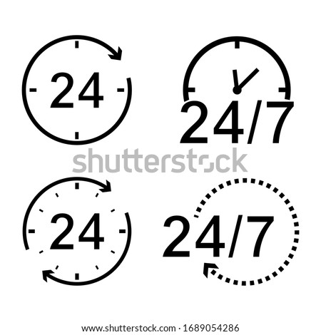 24 hours icon set. Concept of 24/7, open 24 hours, customer service, open around the clock, call center, open everyday. Flat isolated vector illustration design on a white background. EPS 10 format Photo stock ©