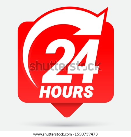 24 hours order execution or delivery service icons. Vector illustration ストックフォト ©