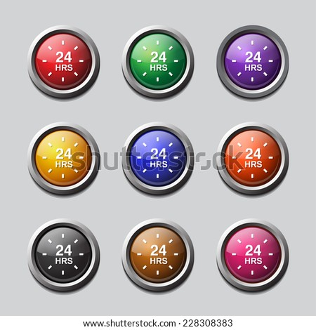 24 Hours Service Colorful Vector Icon Design